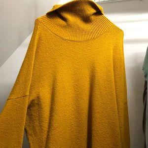 mustard yellow soft turtleneck sweater